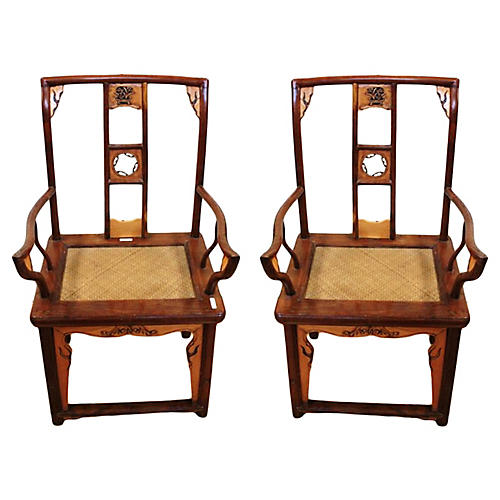 Antique Elm & Fruitwood Chairs, Pair