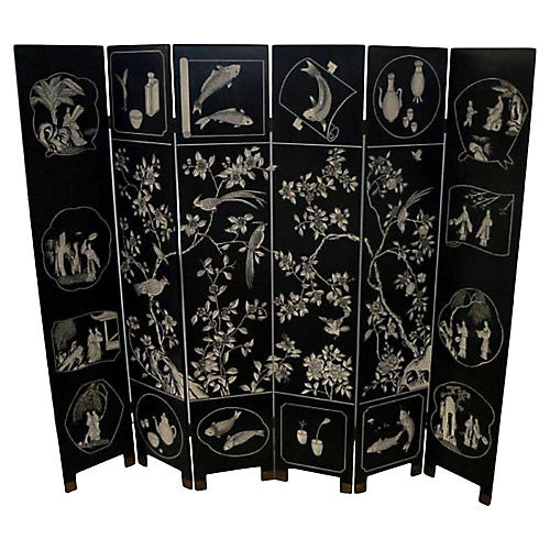 Carved Six-Panel Screen