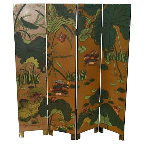 Four-Panel Floral Screen