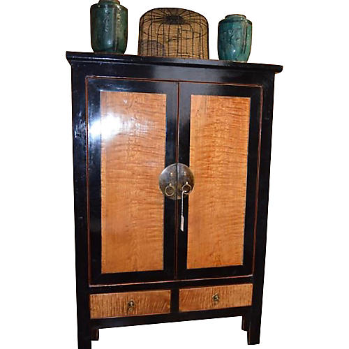 Chinese Black Wooden and Burl Cabinet