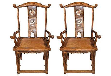 Antique Yoke-Back Chairs, Pair