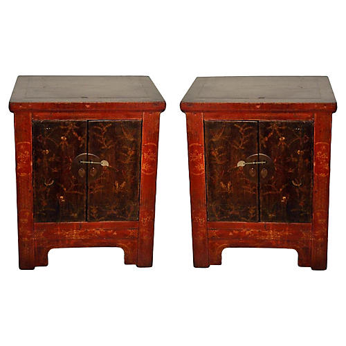 Antique Butterfly Cabinets, Pair