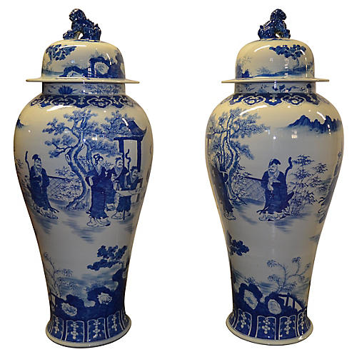 Large Blue & White Jars, Pair