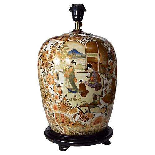 Vintage Japanese Kutani Lamp