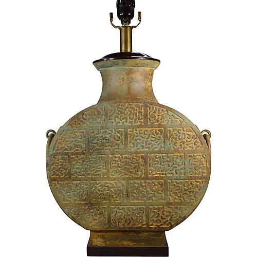 Vintage Chinese Bronze Electric Lamp