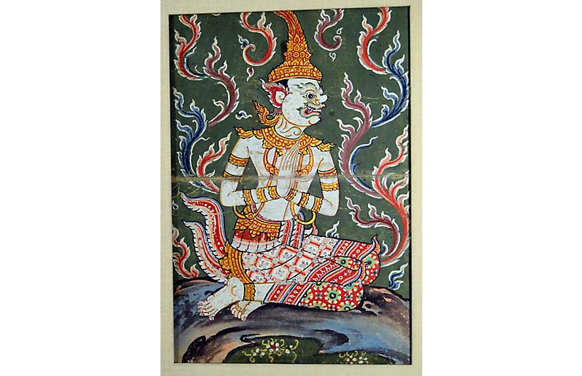 Antique Indonesian Pigment Painting