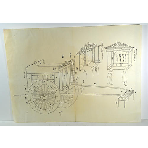 Antique Japanese Lithograph Print