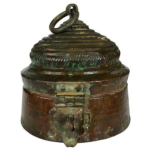 Antique Indian Lidded Brass Bowl