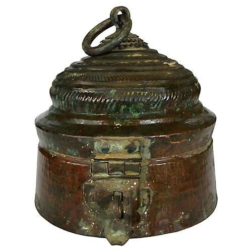 Antique Indian Lidded Brass Bowl