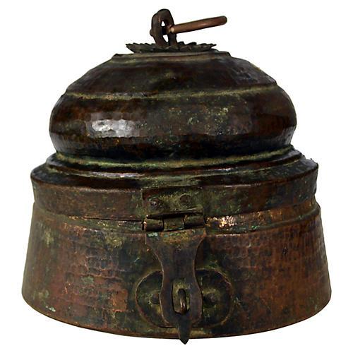 Antique Indian Brass Lidded Bowl