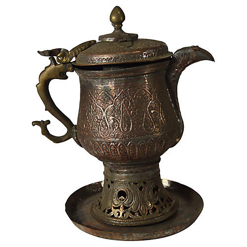Antique Hand-Hammered Indian Teapot