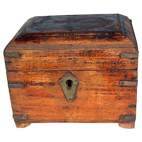 Antique Indian Perfume Box w/ 4 Bottles