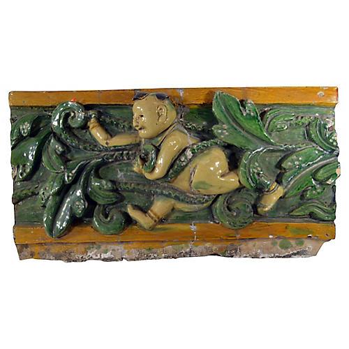 Antique Chinese Temple Terracotta Plaque