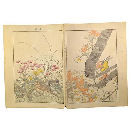 Set 2 Antique Japanese Lithograph Prints