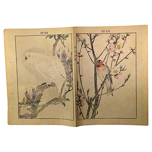 Set 2 Antique Japanese Lithograph Prints