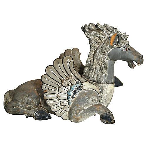 Antique Hand-Carved Large Dragon