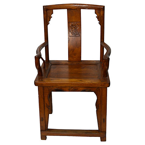 Antique Chinese Hand-Carved Armchair