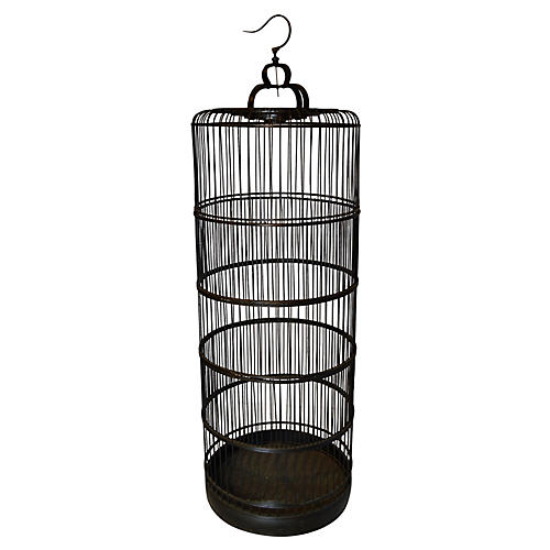 Antique Chinese Black Bamboo Birdcage