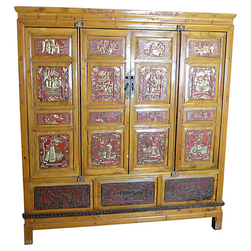 Chinese Hand-Carved Armoire