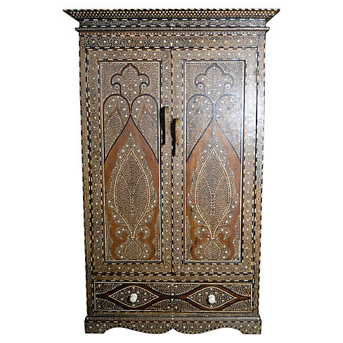 Antique Anglo-Indian Inlaid Armoire