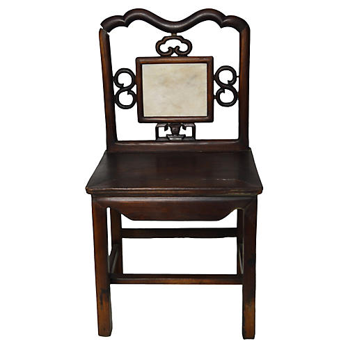 Antique Chinese Marble Medallion Chair