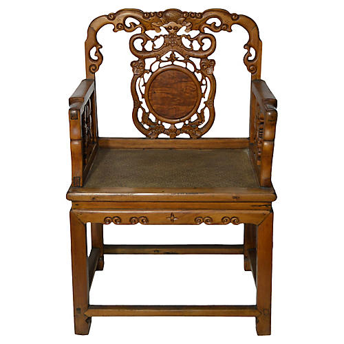 Antique Hand-Carved Wood Chair