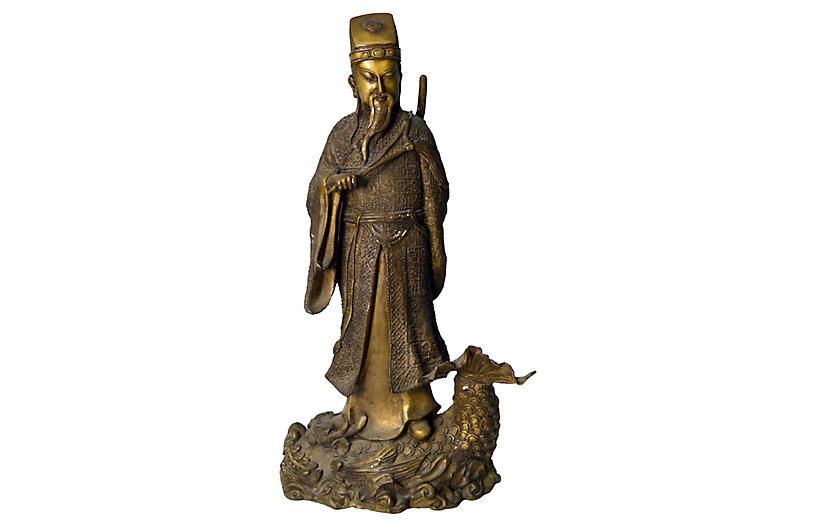 Antique Chinese Bronze Warrior Statue