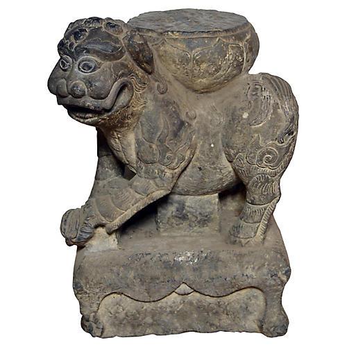 Ming Dynasty Hand Carved Stone Foo Dog