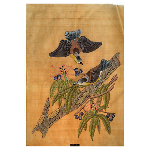 Antique Chinese Aviary Painting