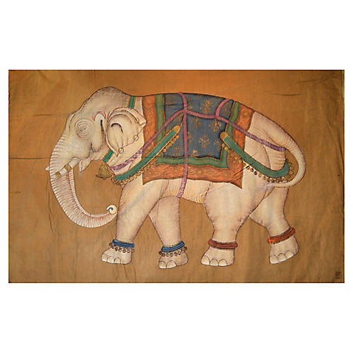 Antique Mughal Indian Elephant Painting