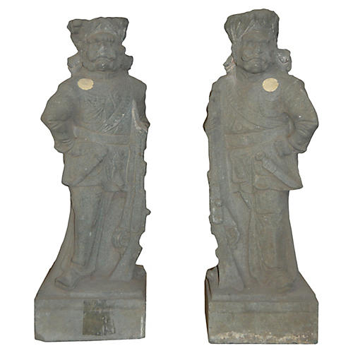 Antique Chinese Temple Sculptures, S/2