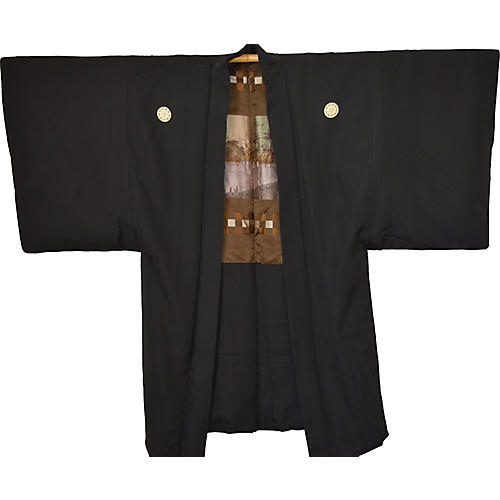 Japanese Black & Gold Haori Kimono