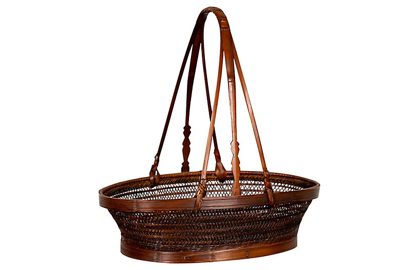 Chinese Woven Rattan Carrying Basket