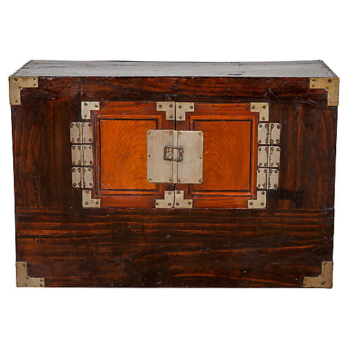 Korean Elm Two-Toned Clothing Cabinet