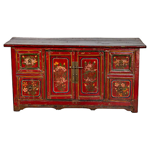 Mongolian Red Lacquered Floral Cabinet