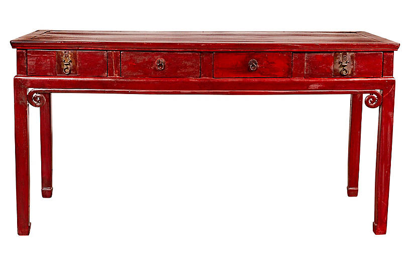 Chinese Antique Red Lacquered Wood Desk