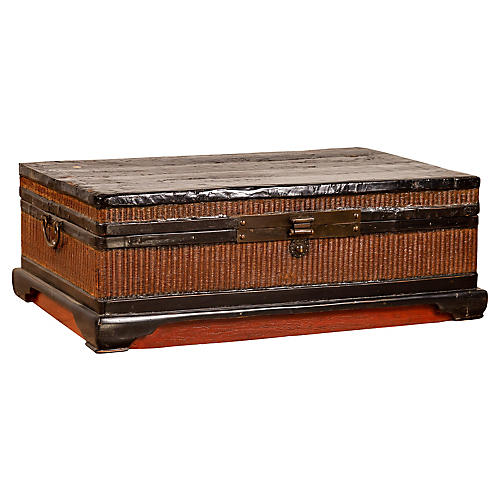 Chinese Wood and Rattan Treasure Chest