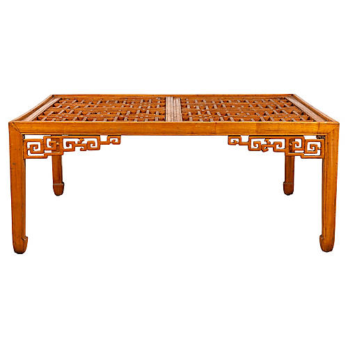 Chinese Elmwood Square Coffee Table