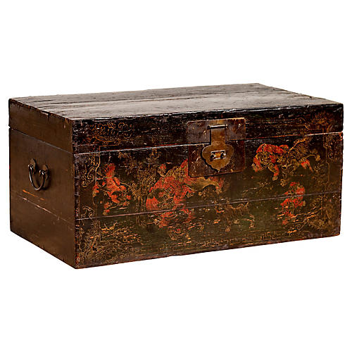 Chinese Black Lacquered Blanket Chest
