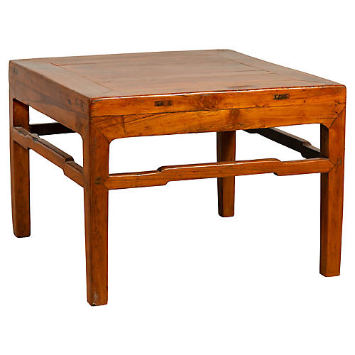 Antique Chinese Natural Wood Side Table