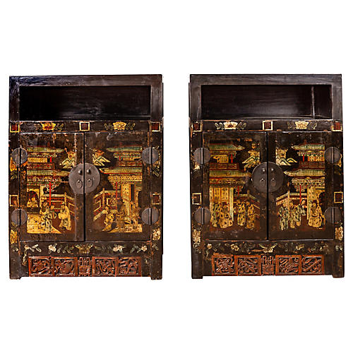 Pair of Antique Chinese Display Cabinets