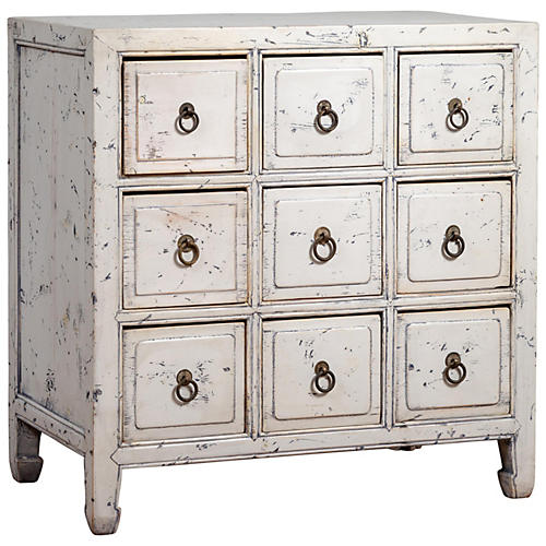 Chinese White Painted Apothecary Chest