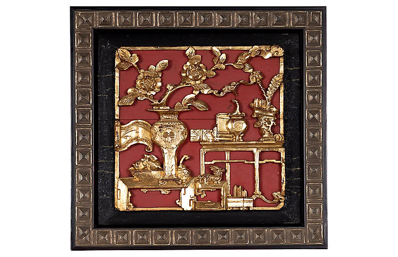Chinese Giltwood and Red Painted Panel
