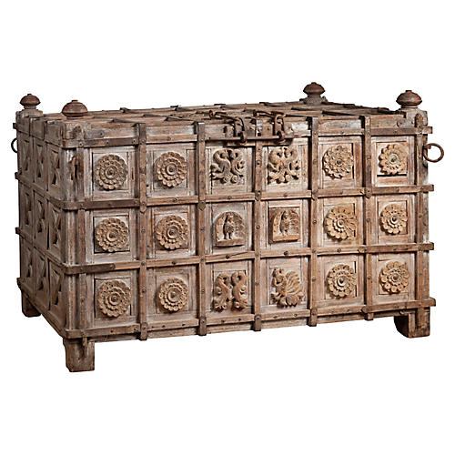 Oversized Indian Treasure Carved Chest