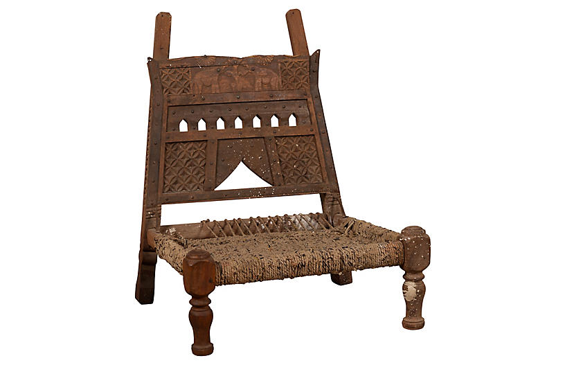 Rustic Indian Low Wooden Chair with Rope