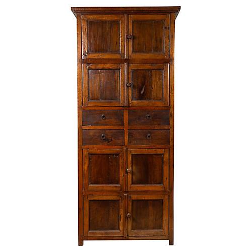Tall Antique Javanese Teak Wood Cabinet