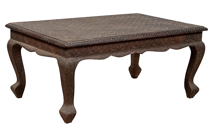 Indian Brushed Metal Patina Coffee Table