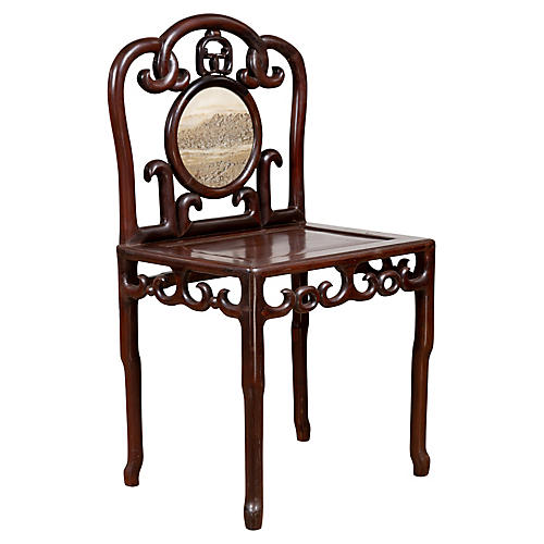 Chinese Rosewood & Marble Side Chair