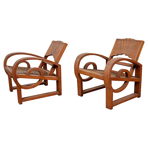 Pair of Teak Country Chairs from Madura