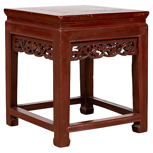 Chinese Side Table with Dark Red Patina